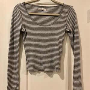 Abercrombie & Fitch | Grey & White Striped Shirt
